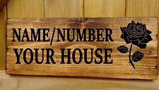 Personalised Wooden Owl Door Sign Plaque Plate Bungalow Cottage Porch House Name