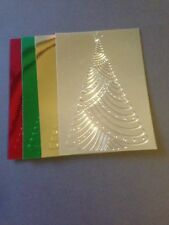 4 Blank Coloured Foil Cardstock Embossed Christmas Tree - A6 Mats
