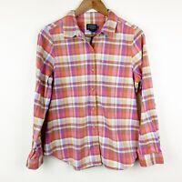 Pendleton Size Medium Plaid 100% Cotton Button Down Long Sleeve Pink Multicolor