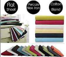 Percale Flat Bed Sheets Non Iron Single,Double,Super King Size,Choice of colour