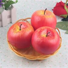 Pack 3 Artificial Realistic Red Apples Fake Fruit Apple Ornament Craft Decor