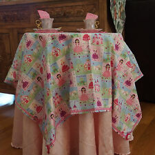 Fairy Tales PRINCESS/FROG FabricTablecloth w/4 Napkins for Girls Tea Parties NEW
