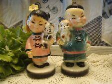Vintage Lefton Oriental Asian Boy & Girl figurine tassels