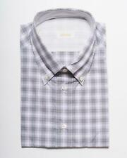 Brioni $475 Lavender Black Plaid Short Sleeve Cotton Sport Casual Shirt V 17 3/4