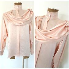 Vintage 80s Shiny Scarf Draped Blouse Size Small Pink Silk Secretary Top Shirt
