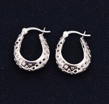 Mesh Filigree Puffed Huggie Oval Hoop Earrings 14K White Gold Clad Real Silver