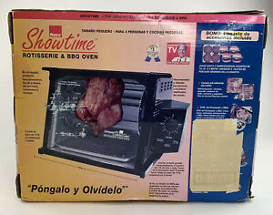 New Ronco Compact Showtime Rotisserie & BBQ Oven 3000 Set Black Sealed