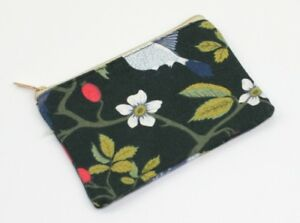 BNWT Bird and Rosehip Nature Design Print Zip Up Lined Coin Purse Wallet Pouch