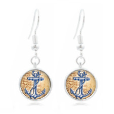 Blue Anchor Glass Dome Earrings Art Photo Tibet silver Earring Jewelry #64