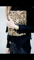 Iconic ZARA Gold Sequinned Clutch Bag Embroidered Sequin Beaded Purse Wallet