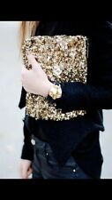 ICONIC Zara Oro Lustrini Pochette ricamato con paillettes e perline Borsetta Portafoglio