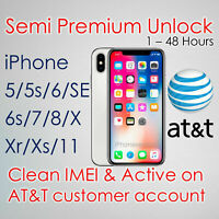 🎗️PREMIUM Service Unlock iphone 5/5s/6/6s/7/8/Plus/X/XR/XS/+ AT&T 🎗️