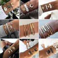 7Pcs/Set Fashion Women Bohemia Shell Crystal Tassel Moon Bracelet Bangle Jewelry