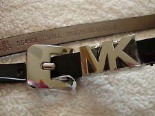 MICHAEL KORS  Black Patent Leather BELT Small  MK Silver Buckler NOT