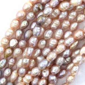 "4x6mm light purple pink freshwater pearl rice beads 14.5""strand"
