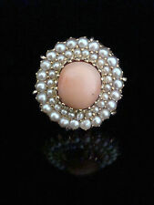 EDWARDIAN 18CT NATURAL CORAL AND SEED PEARL CLUSTER RING