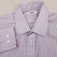 Faconnable Men's Button Up Long Sleeve Shirt Size Large Striped Blue Red