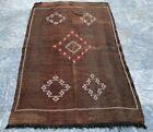Vintage Moroccan Kilim Antique Silk Kilim Oriental Brown Silk Kilim Area Rug