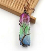 Clear Rainbow Crystal Tree Of Life Chakra Pendant Bronze Wire Wrap Necklace SH
