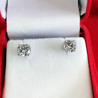 Sterling Silver 2.00 Ct Round Stud Diamond Earrings White Gold Finish/Silver A1