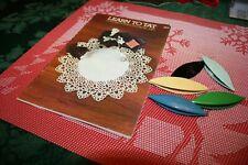 Book + Lot Of 5 Vintage Bakelite Plastic Tatting Shuttles Lace Making