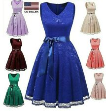 Women Vintage Floral Lace Bridesmaid Dress Wedding Party Midi Dress Cocktail