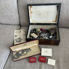 Antique Wooden Inlaid Box Full Of Vintage Costume Jewellery And Buttons