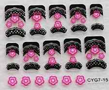 Nail art: 10 stickers bijoux d'ongles: Fleurs roses - bordures noires design