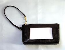 "LEE Wrist Bag Purse #BAG44 in Black Leather ""Alligator"" for Needlepoint Canvas"