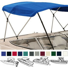 "BIMINI TOP BOAT COVER BLUE 3 BOW 72""L 36""H 91""-96""W - W/ BOOT & REAR POLES"