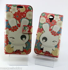 Funda Carcasa Piel Cuero Dibujos Samsung Galaxy S4 SIV S IV i9500 Conejo Flores