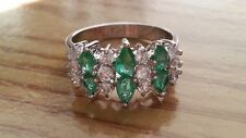 Beautiful Green White Cubic Zirconia Ring Real 925 Sterling Silver *Size 8.5*X90
