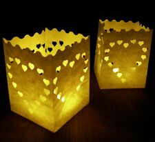 13cm Heart Candle Bags - 10 white heart luminary paper lanterns, Valentine's Day