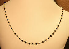 """Black Spinel Faceted Hand Wired Gemstone Vermeil 14K Gold Chain 18-19"""" Necklace"""