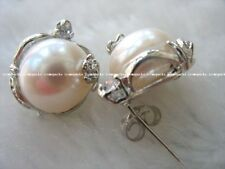 freshwater pearl white baroque earring 13-15mm wholesale beads stud gift discoun
