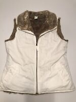 Gap Reversible Ivory And Brown Faux Fur Sleeveless Vest M