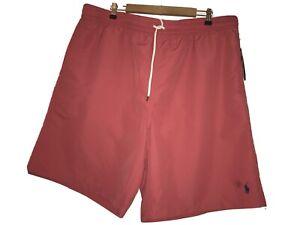 Men's Polo Ralph Lauren Red Pink Swim Trunks Shorts Navy Logo Size 2XLT NWT