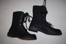 Womens BLACK HIGH TOP BIKER STYLE BOOTS Lace Up SIDE ZIPPER Mock Leather SIZE 6