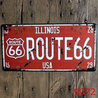 Metal Tin Sign illinois route 66 Decor Bar Pub Home Vintage Retro Poster Cafe