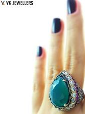 Turkish Ottoman 925 Sterling Silver Jewelry El Sultan Emerald Ring Size 8 R2765