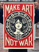 Obey - MAKE ART NOT WAR Signed Offset Lithograph / Shepard Fairey NEW