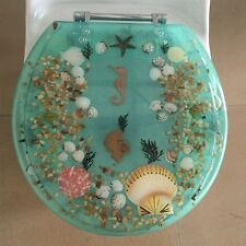 "Seahorse Seashells Acrylic Round shaped Toilet Seat Green 17"" INCH"