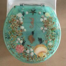 "Seahorse Seashells Acrylic Round shaped Toilet Seat Green 17"" INCH"