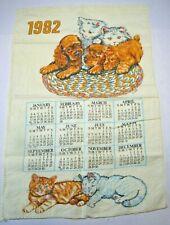 Vintage Cute 1982 Linen Fabric Tea Towel Wall Calendar Kittens Puppies Cats Dogs