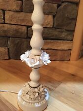 Vintage Cottage Shabby Porcelain Milk Glass Chic Rose Lamp White Flowers Boudior