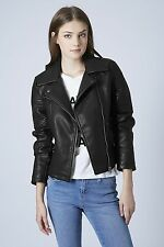 Topshop Shrunken Leather Biker Jacket Faux Leather Jacket Aviator Jacket Sz 4-6