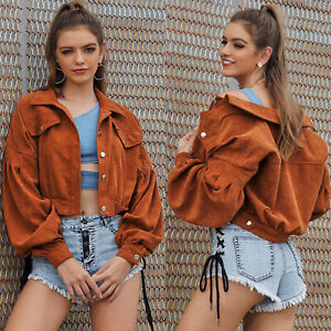 Womens Corduroy Bomber Jacket Long Sleeve Short Crop Tops Outwear Casual Coat AU