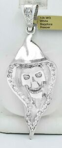 WHITE SAPPHIRES REAPER PENDANT 10K WHITE GOLD ** New With Tag ** 30.9 grams