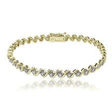 Gold over Sterling Silver .50ct TDW Diamond Miracle Set S Design Tennis Bracelet