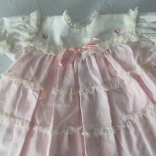 VTG 70s DRESS Toddler 12 Months BRYAN USA PINK & Lace Layers
